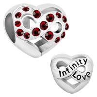 Infinity Heart Love With Red Crystal Charm Beads For Charm Bracelet