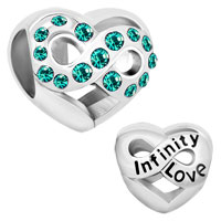 Infinity Heart Love With Green Crystal Charm Beads For Charm Bracelet