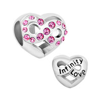 Infinity Heart Love With Pink Crystal For Beads Charms Bracelets Fit All Brands