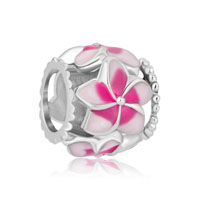 New Pink Flower Enamel For Beads Charms Bracelets Fit All Brands