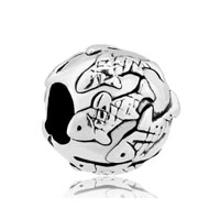Fish Pave Silver Plated For Beads Charms Bracelets Fit All Brands
