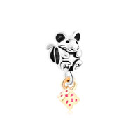 Silver Adorable Mouse With 14 K Cheese Gold Plated Beads Charms Bracelets Fit All Brands