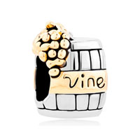 Silver With 14 K Vine Wine Cask Gold Plated Beads Charms Bracelets Fit All Brands