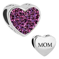 Pugster Mom Amethyst Purple Crystal Heart For Beads Charms Bracelets Fit All Brands