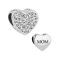 Mom Clear White Crystal Heart Rhinestone For Beads Charms Bracelets Fit All Brands