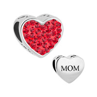 Mom Light Red Crystal Heart Rhinestone Beads Charms Bracelets Fit All Brands