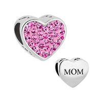 Mom Rose Pink Crystal Heart Rhinestone Beads Charms Bracelets Fit All Brands