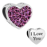 Mom Amethyst Purple Crystal Heart I Love You Rhinestone Beads Charms Bracelets Fit All Brands