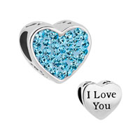 Mom Aquamarine Blue Crystal Heart I Love You Rhinestone Beads Charms Bracelets Fit All Brands