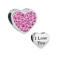 Rose Pink Crystal Heart I Love You Rhinestone For Beads Charms Bracelets Fit All Brands