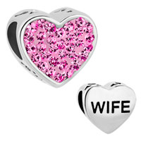 Fashion Heart Love Rose Pink Rhinestone Crystal Wife Alloy Beads Charms