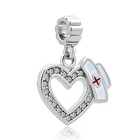 White Birthstones Plate Heart Love With Medical Logo Dangle Charms For Bracelets