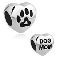 Heart Love Dog Mom Pet Paw Print Stainless Steel Bead Charms For Bracelets