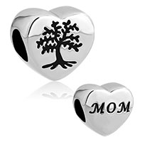 Heart Love Mom Black Tree Stainless Steel Bead Charms For Bracelets
