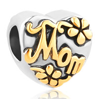 Heart Love Gold Mom Alloy Bead Charms For Bracelets