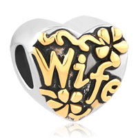 Heart Love Gold Wife Alloy Bead Charms For Bracelets