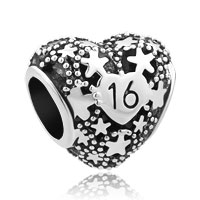 Happy Birthday Age Of 16 Heart Love Bead Charms For Bracelets