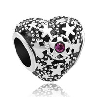 Purple Birthstone Christmas Snow Heart Love Bead Charms For Bracelets