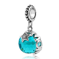 Mom Plated Light Blue Swarovski Elements Ball Stopper Beads