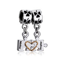 925 Sterling Silver Filigree Heart Love Dangle Mother Daughter Fit Beads Charms Bracelets All Brands
