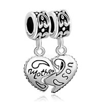 925 Sterling Silver Mother Son Heart Dangle Love Gift Fit Bead European Charms Bracelet