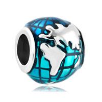 Sterling Silver Lucky Charm Bracelet Ocean Blue Earth World Globe For Bracelet