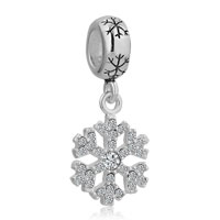 Sterling Silver Silver Snowflake Dangle Lucky For Charms Bracelets White Crystal