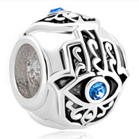 Sterling Silver Births Blue Crystal Evil Eye Charm On Islamic Hamsa Hand Of Fatima