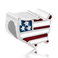 Sterling Silver Patriotic Proud To Be American Flag Country Of Us Map Lucky Charms