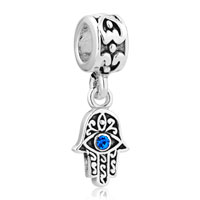 Sterling Silver Blue Evil Eye Hamsa Hand Fatima Dangle Charm Bracelet Spacer Heart