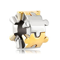 Sterling Silver Two Puzzle Piece Charm Bracelet Spacer European Bead Bracelets