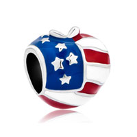 Sterling Silver America Usa Flag Heart Love European Beads Charms For Bracelets