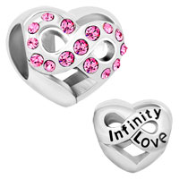 Sterling Silver Infinity Heart Love With Pink Crystal Charm Beads For Charm Bracelet