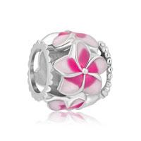 New Sterling Silver Pink Flower Enamel European Charm Beads For Charm Bracelets