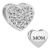 Sterling Silver Bead Mom Charm Clear White Crystal Heart Mom Rhinestone For Charm Bracelet