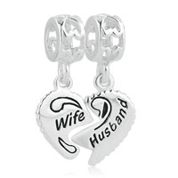 925 Sterling Silver Wife Husband Heart Love Dangle Charm Bead Fit Bracelet