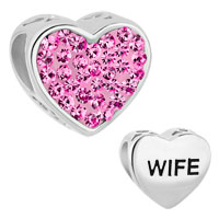 925 Sterling Silver Heart Rose Pink Rhinestone Crystal Wife Beads Charms