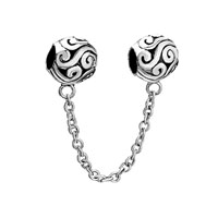 Silver Plated Double European Bead Link Charms For Bracelets Dangle
