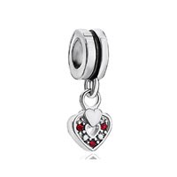 Silver Red Swarovski Element Heart Charm Bracelet Spacer Dangle