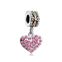 22k Gold Rose Pink Crystal Diamond Charm Accent Heart Love Dangle