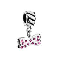 Pink Crystal Embeded Bone Dangle European Bead Charms Braceletsed