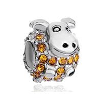 Birthstone Charms Cute Yellow Crystal Calf Beads
