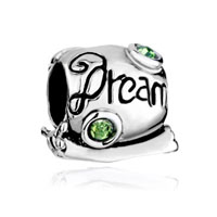 Cute Snail Dream Green Crystal August Birthstone Beads Charms Bracelets Fit All Brands