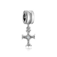 Silver Plated Art Celtic Claddagh Irish Cross Bracelet Charm Dangle