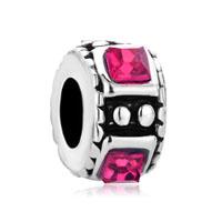 Silver Pink Swarovski Crystal Charm Bracelet Spacer European Bead