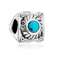 Silver Square Turquoise Flower Charm Bracelets Triangle Side Brands