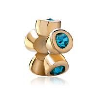 December Birthstone Blue Swarovski Golden Charm Bracelet Spacer