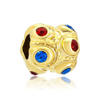 Red Blue Swarovski Crystal Golden European Bead Charms Bracelets