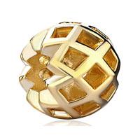 Vintage Antique Golden Carved For Gold Plated Beads Charms Bracelets Fit All Brands
