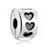Silver Plated Heart Clasp Round Stopper Lover Charm Bracelet Spacers
